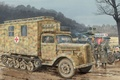 Picture truck, war, art, German, Opel, company, figure, sanitary, Maultier, Sd.Car. 3, Ambulance, the roads
