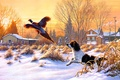 Picture winter, snow, nature, sunrise, bird, dog, painting, art, fly, Frank Of Central City, Getting Up, ...
