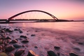 Picture backlight, bridge, Germany, Germany, Fehmarn Sound Bridge, shore, pink, sea, the evening, the ocean, lights, ...