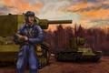 Picture tank, art, heavy, the commander, Soviet, ww2, KV-2, Klim Voroshilov, army, tablet.