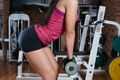 Picture girl, pose, style, figure, legs, the gym, dumbbells