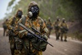 Picture Steyr AUG, rifle, soldiers, rain, equipment, automatic, gas mask, camouflage
