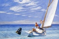 Picture sea, people, boat, picture, yacht, sail, Edward Hopper, seascape, Ground Swell