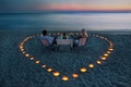 Picture pair, the evening, candles, the ocean, romance, beach, champagne