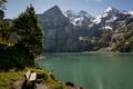 Picture trees, mountains, bench, lake, Switzerland, Switzerland