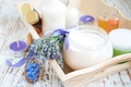 Picture cream, the flowers of lavender, candles, candles, lavender, sea salt, lavender flowers, cream, lavender, sea ...