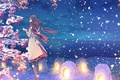 Picture clouds, lanterns, the sky, scarf, girl, anime, yuca, winter, nature, art, snow