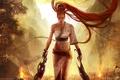 Picture girl, mountains, fire, warrior, Heavenly Sword, Nariko