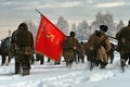 Picture EQUIPMENT, FLAG, SOLDIERS, BANNER, RED, WINTER, SNOW