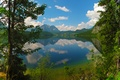 Picture lake, Altausseer Lake, mountains, Austria, forest