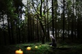 Picture candles, forest, girl