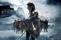 Picture shield, Kristen Stewart, tree, dwarves, Snow White And The HuntsMan