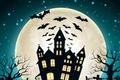 Picture bats, pumpkin, house, halloween, Halloween, castle, the moon, moon, pumpkins, house, bats, castle