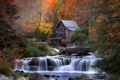 Picture waterfall, foliage, water mill, autumn, house, forest, river, stones