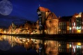 Picture architectural night, moon., Poland, home, Gdansk, river