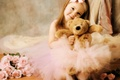 Picture roses, bear, girl