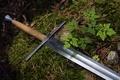 Picture grass, sword, arm, steel