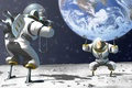 Picture space, earth, the moon, humor, posing, the suit, art, the astronauts, the camera