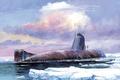 Picture submarine, boat, art, ice, underwater, water, K-3, Lenin, Komsomol, clouds, the sky, USSR