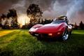 Picture clouds, Corvette, the evening, Chevrolet, 1969, Corvette, Chevrolet, grass, sunset