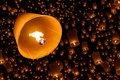 Picture night, a lot, the sky, sky lanterns, fire