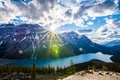 Picture Banff, mountains, trees, lake, Albert, forest, the rays of the sun, clouds, the sky, rocks, ...