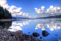 Picture the sky, clouds, mountains, lake, reflection, stones