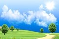 Picture the sun, the sky, field, road, trees, grass, clouds