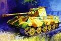 Picture painting, art, TIGER II, war, tank