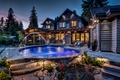 Picture beauty, backlight, pool, house