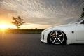 Picture white, the sun, sunset, Nissan, white, Blik, Nissan, 350Z