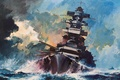 Picture wave, storm, the wind, ship, oil, storm, art, watercolor, theatre, Navy, military, the convoy, support, ...