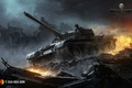 Picture LBZ, T-55A NVA DDR, Sparks, The sky, WoT, World Of Tanks, Flame, The wreckage, Clouds, ...