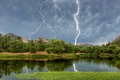 Picture Arizona, Granite Basin Lake, lightning, lake, mountains, forest, AZ
