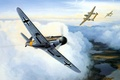 Picture WAR, aviation, WW2, painting, ART, bf 109