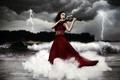 Picture lightning, girl, violin, music