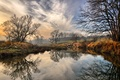 Picture river, reflection, trees, the bushes, clouds, the sky, autumn, landscape