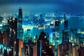 Picture night, lights, river, home, Hong Kong, skyscrapers, panorama, China, megapolis