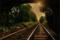 Picture rays, road, bridge, trees, arch, iron, gravel, sleepers, the sun, tray, rails