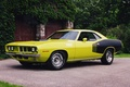 Picture yellow, gate, the fence, 1971, side view, black, muscle car, Plymouth, shrub, Plymouth, WHERE, CUDA, ...