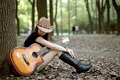 Picture girl, mood, guitar