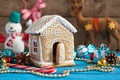 Picture house, new year, gingerbread, candy, deer, bumps, Christmas, toys, cakes, beads, holiday, snowman, gingerbread house