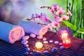 Picture stones, candle, Orchid, bamboo, towel, Spa, flower