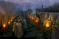 Picture snow, night, army, helmet, cloak, torches, guards, camp, tents, Trinity Souls of Zill O`ll