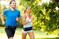 Picture couple, laughing, running, physical activity