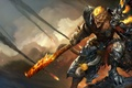Picture wukong, Wukong, art, Monkey King, warrior, armor, League of Legends, fire