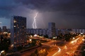 Picture lights, the evening, lightning, Moscow, home, road