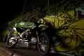 Picture Motorcycle, Kawasaki, Graffiti, Night