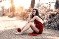 Picture road, girl, roses, dress, legs, Alessandro Di Cicco