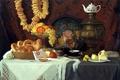 Picture tea, apples, oil, picture, art, grapes, artist, vase, fruit, still life, painting, samovar, canvas, pear, ...